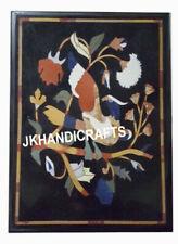 "Black Marble End Table Top Precious Peacock design Inlaid Home Decor 18"" x 12"""