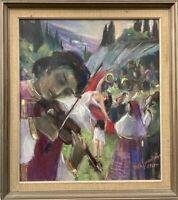 Hochzeit Personen Mann mit Geige Feier Party Pastell Kreide 1961 56 x 50 cm