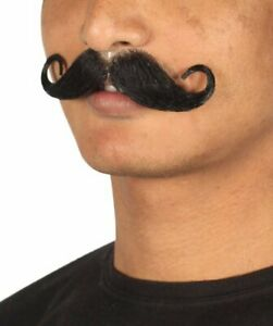 Men's Rollie Fingers Style Mustache Set Black Cosplay Facial Hair M-1171