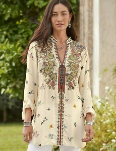 💕$265 JOHNNY WAS BANIA EMBROIDERED CUPRA BLOUSE SZ MEDIUM FITS LARGE TOO NEW