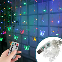 3.5M 96 LED String Curtain Lights Fairy Wedding Party Decor Colorful Waterproof