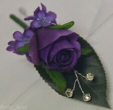 Silk wedding flower purple rose roses button hole flowers Diamante boutonniere