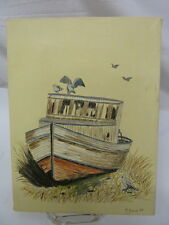 Nautical Beached Boat and Seagull Acrylic and Pen Painting by M. Young 1989