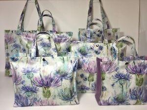 UK Handmade 'Voyage' Oilcloth Bags Eilean Donan Thistle by Nikkis Original Totes