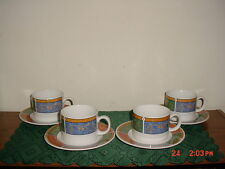"8-PC MAJESTICWARE ""PERSIA"" COFFEE CUPS & SAUCERS/GRN-LAV-CORAL-WHITE/FREE SHIP!"