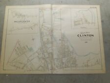 2 Vintage Colored Maps, 1898 Clinton, Bolton Center, MA Ma.