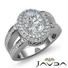 2.15ctw Vintage Double Halo Oval Diamond Engagement Ring GIA F-VS1 White Gold