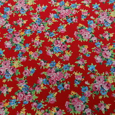 BRIGHT RED & FLOWER BUNCH PRINT COTTON FABRIC LIMITED STOCK (AM01)