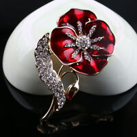 2Pcs Women's Wedding Bridal Bouquet Red Flower Crystal Gold Brooch Pin Gift
