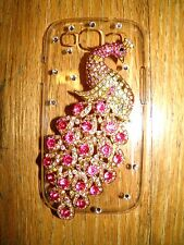 SAMSUNG GALAXY S3 BACK COVER/CASE WITH 3D PEACOCK WITH FUSCHIA PINK STONES NEW