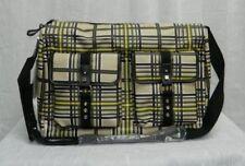 BODHI NWT Green/Beige Plaid Leather/Linen Zipper Closure Weekender Tote Bag sz L