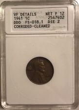 1941 P Lincoln Wheat Cent Penny FS-018.1 DDO Die 2 FS-018 ANACS VF Details
