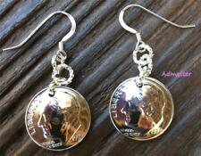 60th BIRTHDAY GIFT! 1957 DIME EARRINGS STERLING SILVER FRENCH HOOKS ANNIVERSARY