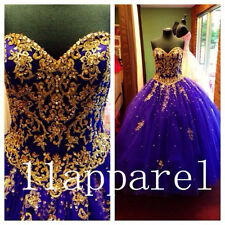 Gold Applique Beading Quinceanera Dresses Ball Gown Long Woman Prom dress custom