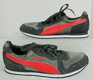 Men's PUMA CABANA Racer Trainers Sneakers Size 10.5 Red/Java Brown #363209 NWOB
