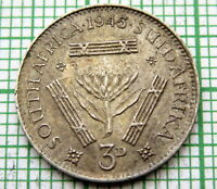 SOUTH AFRICA SUID AFRIKA GEORGE VI 1945 3 PENCE, SILVER HIGH GRADE TONED