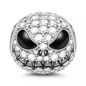 Dimante Jack Skull Charm REAL 925 Sterling Silver Tennis Bracelet Bead