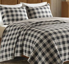 GRAY BLACK CHECKS 3pc King QUILT SET : GREY BUFFALO PLAID COUNTRY CABIN LODGE