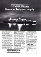 "1981 QE2 Queen Elizabeth 2 ""At Night"" photo Cunard promo print ad"