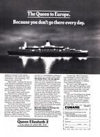 "1981 QE2 Queen Elizabeth 2 ""At Night"" photo Cunard promo print ad"