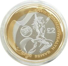 2002 Royal Mint Commonwealth Games Welsh Flag £2 Two Pound Silver Proof Coin