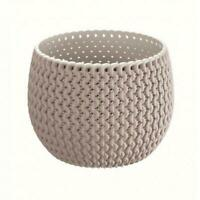 Mocca Small Lovely Flower Pot Planter Basket-Home Office-Woven Knitted Effect
