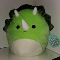 """Squishmallow 16"""" Tristan the Triceratops Green Huge NWT plush toy Kellytoy HTF"""