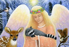 Angel fairy wildlife raccoon squirrel fawn fantasy limited edition aceo print
