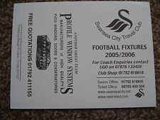 SWANSEA CITY FIXTURE CARD 2005/6