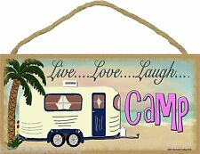 "Beach Live Love Laugh Camp Camping Pull Camper Sign Plaque 5""x10"""
