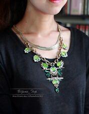 Collar Semilargo Grande Colgante Verde Conchas Vintage Retro Original Barroco QT