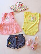 Gymboree LOT Baby Girl 3-6 Months Meow Floral Dress Hat Shorts Bodysuit & Shoes