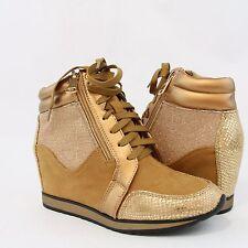 Women Medium High Wedge Ankle High Fashion Sneakers Shinny Glitter Design