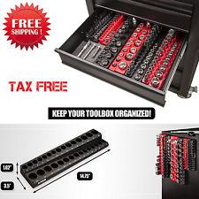 30 Pcs Metric Magnetic Socket Holder Heavy Duty Tray Tool Box Rack 3/8 Inch Soft