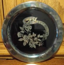 """Silver Plated Silverplate Round Happy Anniversary Platter 10.25"""" Rose Pattern"""