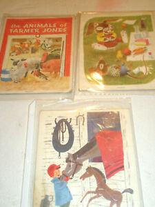 Vintage Lot 3 PLAYSKOOL Golden Press Puzzles Animals Pressed Paper