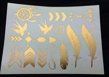 Planche de 14 Tatouages éphémères métallique waterproof. Tatoo temporaire or