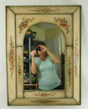 "Large 31"" Ornate Wood Hand Painted Flower Shadow Box Hanging Wall Mirror"