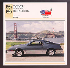 1984-1985 Dodge Daytona Turbo Z Hatchback Car Photo Spec Sheet Info Stat CARD