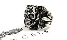 Men's Silver Skull Fleur De Lis Ring With Black Diamonds by Sacred Angels