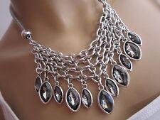 STRASS Collier Damen Hals Kette kurz Modekette Bettelkette Silber Statement BR25