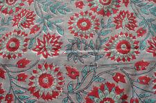 Indian Hand Block Print Pure Cotton Fabric 3 Yard Sanganeri Loose Running Craft