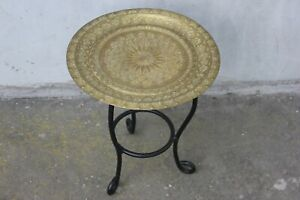 Vintage Oriental coffee table with Brass Ornate Tray, Moroccan Style Side table