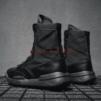 men Round Toe Lace Up Combat Military Combat Ankle Boot Shoe Desert Outdoor New