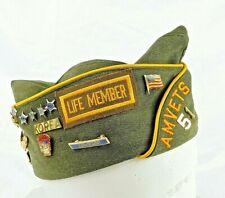 AMVETS 51 Vintage Garrison Cap, Korean Veteran, Life Member with 28 Unique Pins