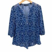 Zac & Rachel Womens Popover Blouse Blue White Floral 3/4 Sleeve Notch Neck Top M