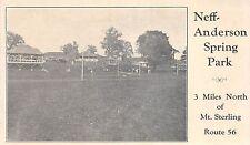 Ohio Postcard c1910 MT STERLING London NEFF-ANDERSON SPRING PARK Pavilion