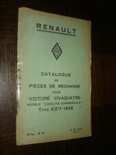 CATALOGUE PIECES DE RECHANGE - Renault Vivaquatre Type KZ13 1935