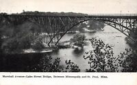 Minneapolis to St Paul Minnesota~Marshall Avenue Lake Street Bridge~1908 B&W PC