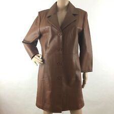 Chadwick's M Medium Genuine Leather Trench Coat Jacket 3/4 Sleeve Button Front